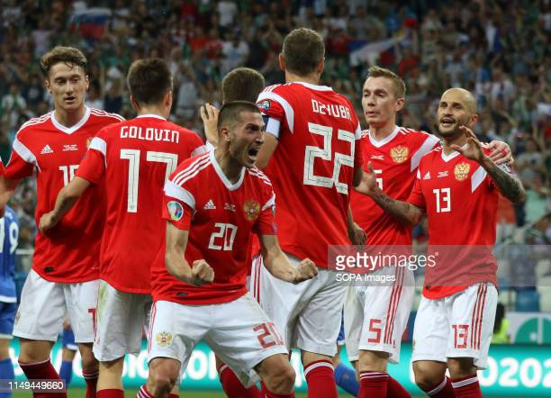Player of Russia are seen celebrating a goal during the EURO 2020 Qualifiers round 4 march between Russia and Cyprus at the Nizhny Novgorod stadium