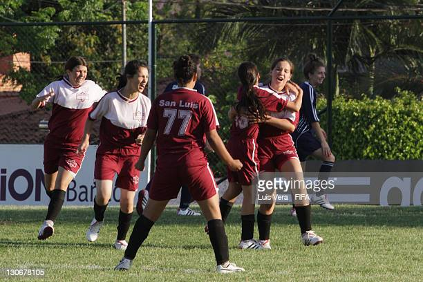 A player of San Luis celebrates scoring goal during the FIFA Women's Football Initiative on October 27 2011 in Asuncion Paraguay