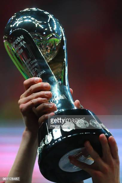 A player of Santos Laguna lifts the Championship Trophy after the Final second leg match between Toluca and Santos Laguna as part of the Torneo...