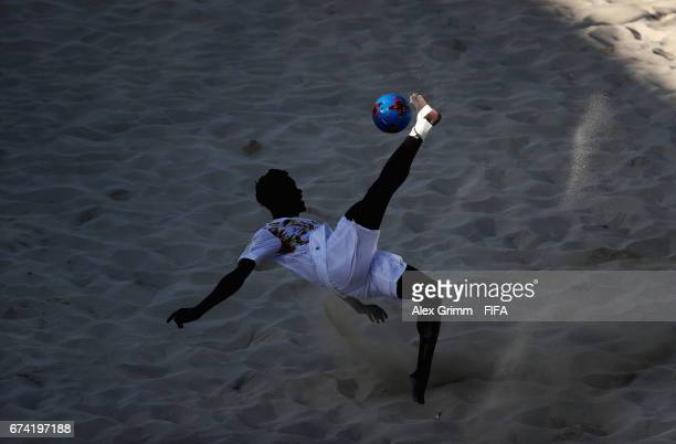 A player of Senegal attempts a bicycle kick during the FIFA Beach Soccer World Cup Bahamas 2017 group A match between Ecuador and Senegal at National...