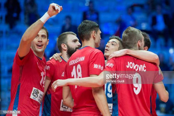 Player of Serbia reacts for victory during the third round of the Italy vs Serbia match for the FIVB Men's World Championship 2018