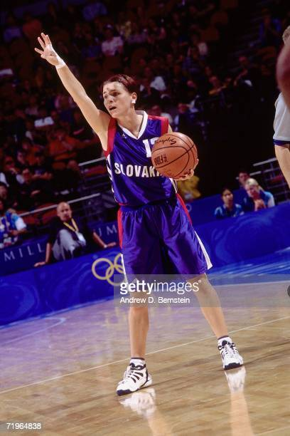A player of Slovakia calls the play against the United States Woman's National Team during the 2000 Summer Olympics played September 27 2000 in...