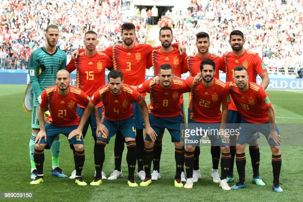 Player of Spain line up for the team photos prior to the 2018 FIFA World Cup Russia Round of 16 match between Spain and Russia at Luzhniki Stadium on...