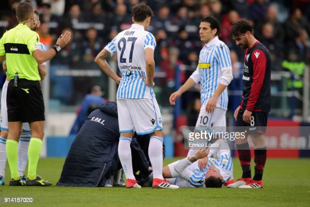 Player of Spal injured during the serie A match between Cagliari Calcio and Spal at Stadio Sant'Elia on February 4 2018 in Cagliari Italy