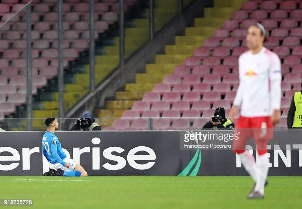 Player of SSC Napoli Adam Ounas celebrates after scoring the 10 goal beside the disappointment of Yussuf Poulsen player of RB Leipzig during UEFA...
