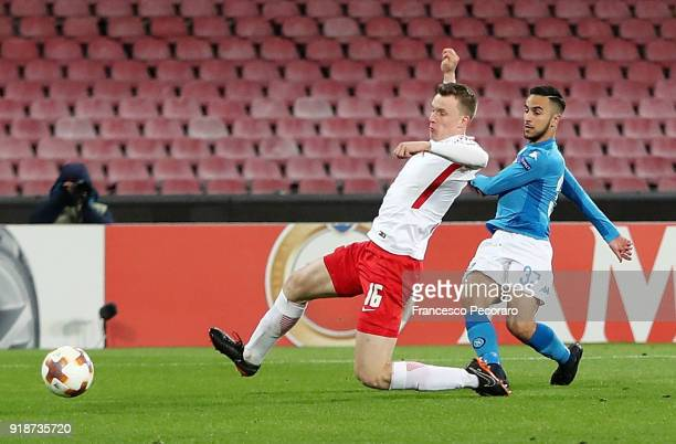 Player of SSC Napoli Adam Ounas scores the 10 goal during UEFA Europa League Round of 32 match between Napoli and RB Leipzig at the Stadio San Paolo...