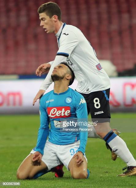 Player of SSC Napoli Adam Ounas stands disappointed during the TIM Cup match between SSC Napoli and Atalanta BC on January 2 2018 in Naples Italy