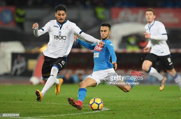 Player of SSC Napoli Adam Ounas vies with Atalanta BC player Jose Luis Palomino during the TIM Cup match between SSC Napoli and Atalanta BC on...