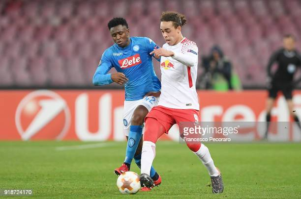 Player of SSC Napoli Amadou Diawara vies with RB Leipzig player Yussuf Poulsen during UEFA Europa League Round of 32 match between Napoli and RB...