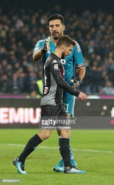 Player of SSC Napoli Dries Mertens and Juventus player Gianluigi Buffon during the Serie A match between SSC Napoli and Juventus at Stadio San Paolo...