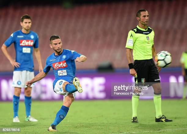 Player of SSC Napoli Dries Mertens scores the 10 goal during the preseason friendly match between SSC Napoli and Espanyol at Stadio San Paolo on...