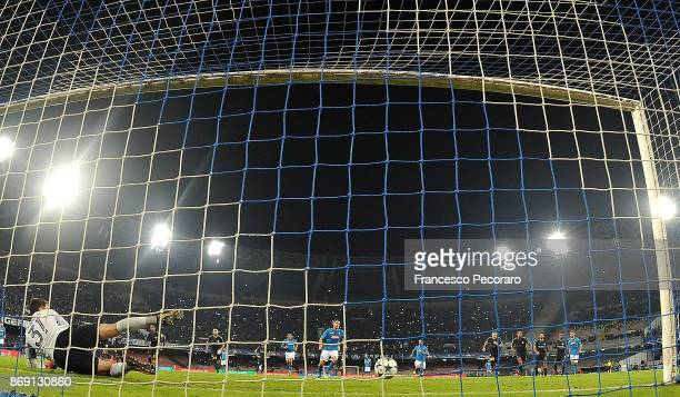 Player of SSC Napoli Jorginho scores the 22 goal during the UEFA Champions League group F match between SSC Napoli and Manchester City at Stadio San...