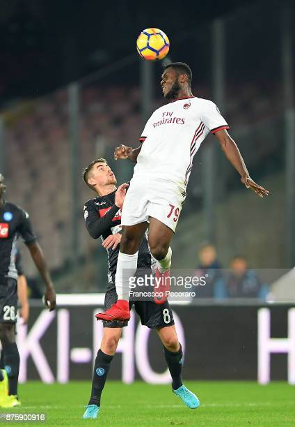 Player of SSC Napoli Jorginho vies with AC Milan player Franck Kessie during the Serie A match between SSC Napoli and AC Milan at Stadio San Paolo on...
