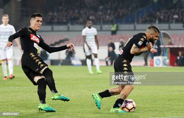 Player of SSC Napoli Jose Callejon scores the 30 during the Serie A match between SSC Napoli and Udinese Calcio at Stadio San Paolo on April 15 2017...
