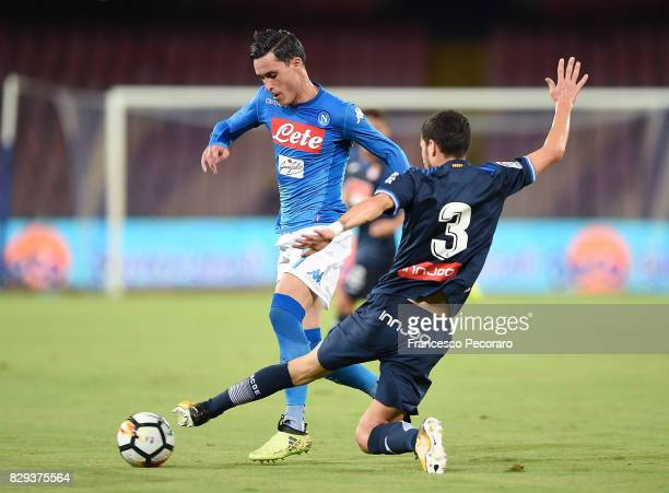 Player of SSC Napoli Jose Callejon vies with Espanyol player Mario Hermoso during the pre-season friendly match between SSC Napoli and Espanyol at...