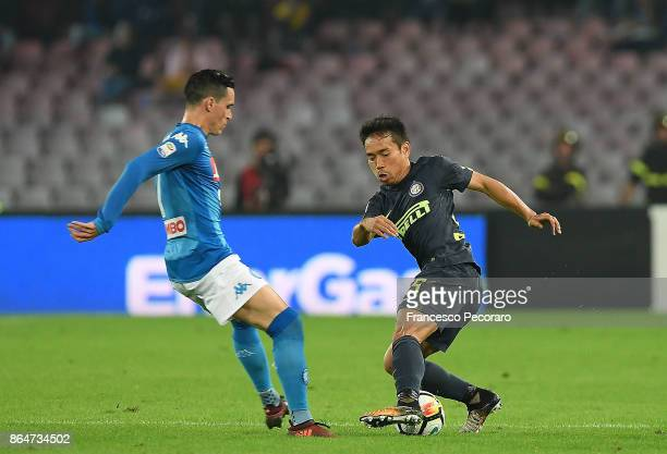 Player of SSC Napoli Jose Callejon vies with FC Internazionale player Yuto Nagatomo during the Serie A match between SSC Napoli and FC Internazionale...