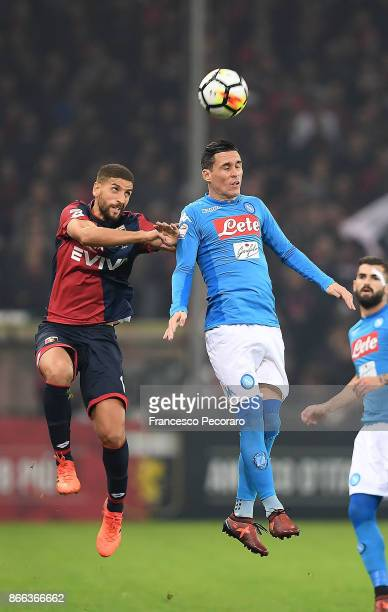 Player of SSC Napoli Jose Callejon vies with Genoa CFC player Adel Taarabt during the Serie A match between Genoa CFC and SSC Napoli at Stadio Luigi...