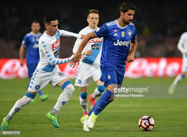 Player of SSC Napoli Jose Callejon vies with Juventus FC player Sami Khedira during the TIM Cup match between SSC Napoli and Juventus FC at Stadio...