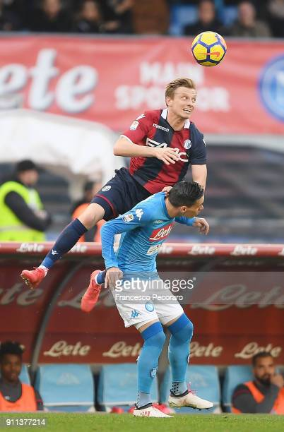Player of SSC Napoli Jose Calleon vies with Bologna FC player Ladislav Krejci during the serie A match between SSC Napoli and Bologna FC at Stadio...