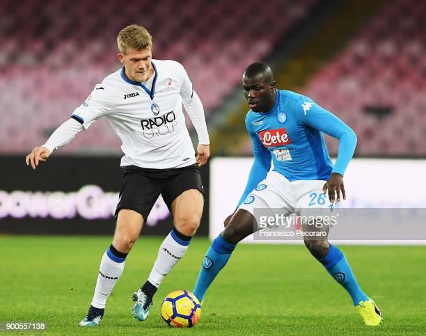 Player of SSC Napoli Kalidou Koulibaly vies with Atalanta BC player Robin Gosens during the TIM Cup match between SSC Napoli and Atalanta BC on...