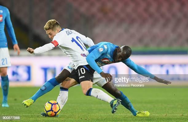 Player of SSC Napoli Kalidou Koulibaly vies with Atalanta BC player Papu Gomez during the TIM Cup match between SSC Napoli and Atalanta BC on January...