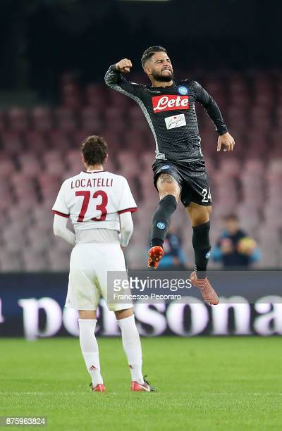 Player of SSC Napoli Lorenzo Insigne celebrates after scoring the 10 goal beside the disappointment of Manuel Locatelli player of AC Milan during the...