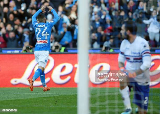 Player of SSC Napoli Lorenzo Insigne celebrates after scoring the 22 goal as Emiliano Viviano of UC Sampdoria looks dejected during the Serie A match...
