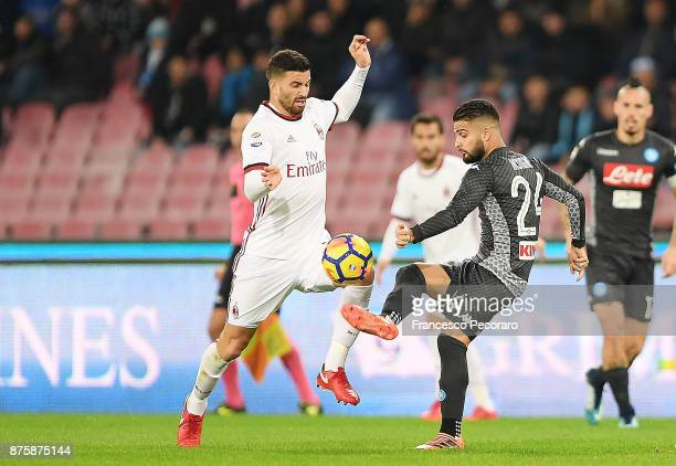 Player of SSC Napoli Lorenzo Insigne vies with AC Milan player Mateo Musacchio during the Serie A match between SSC Napoli and AC Milan at Stadio San...