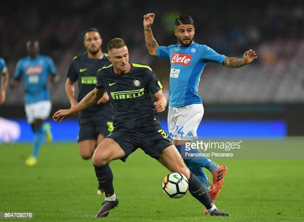 Player of SSC Napoli Lorenzo Insigne vies with FC Internazionale player Milan Skriniar during the Serie A match between SSC Napoli and FC...