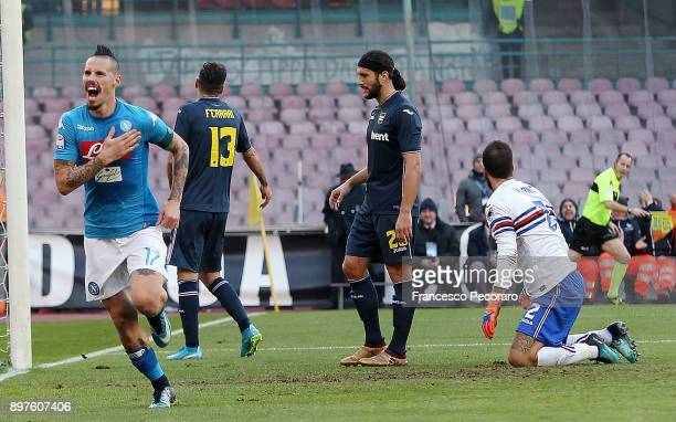 Player of SSC Napoli Marek Hamsik celebrates after scoring the 32 goal beside the disappointment of the players of UC Sampdoria during the Serie A...