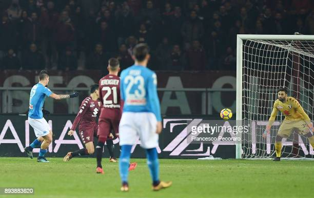 Player of SSC Napoli Marek Hamsik scores the 03 goal during the Serie A match between Torino FC and SSC Napoli at Stadio Olimpico di Torino on...