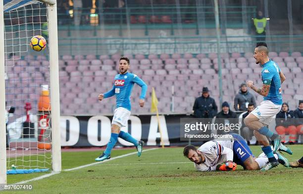 Player of SSC Napoli Marek Hamsik scores the 32 goal during the Serie A match between SSC Napoli and UC Sampdoria at Stadio San Paolo on December 23...