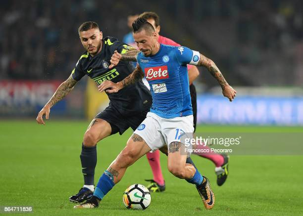Player of SSC Napoli Marek Hamsik vies with FC Internazionale player Mauro Icardi during the Serie A match between SSC Napoli and FC Internazionale...