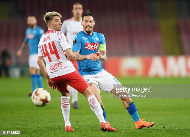 Player of SSC Napoli Marek Hamsik vies with RB Leipzig player Kevin Kampl during UEFA Europa League Round of 32 match between Napoli and RB Leipzig...