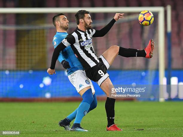Player of SSC Napoli Nikola Maksimovic vies with Udinese Calcio player Riad Bajic during the TIM Cup match between SSC Napoli and Udinese Calcio at...