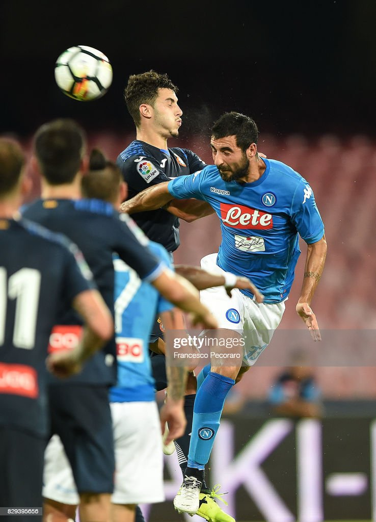 Player of SSC Napoli Raul Albiol scores the 2-0 goal during the pre-season friendly match between SSC Napoli and Espanyol at Stadio San Paolo on August 10, 2017 in Naples, Italy.