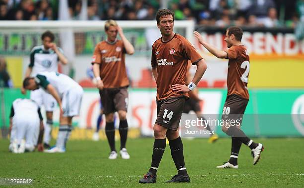 Player of St. Pauli are seen after the Bundesliga match between VfL Wolfsburg and FC St. Pauli at Volkswagen Arena on April 16, 2011 in Wolfsburg,...
