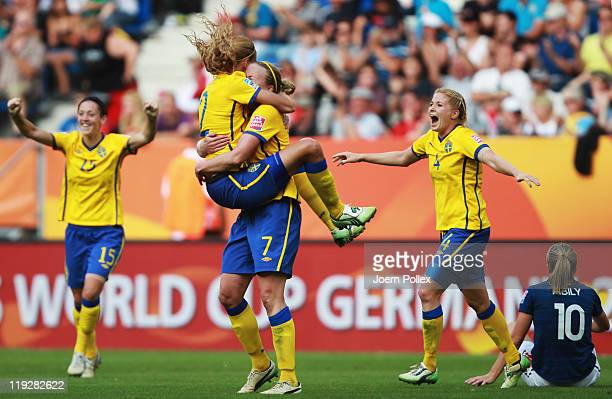 Player of Sweden celebrates after winning the FIFA Women's 3rd Place Playoff match between Sweden and France at RheinNeckar Arena on July 16 2011 in...