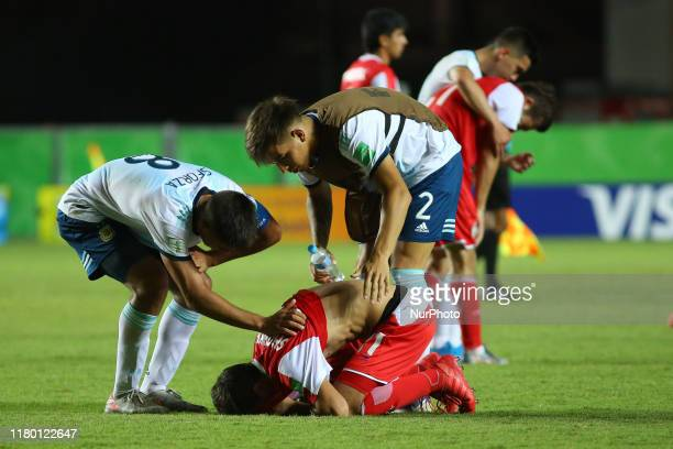 Player of Tajikistan reacts after Argentina defeat Tajikistan 31 during the FIFA U17 World Cup Brazil 2019 Group E match between Argentina and...