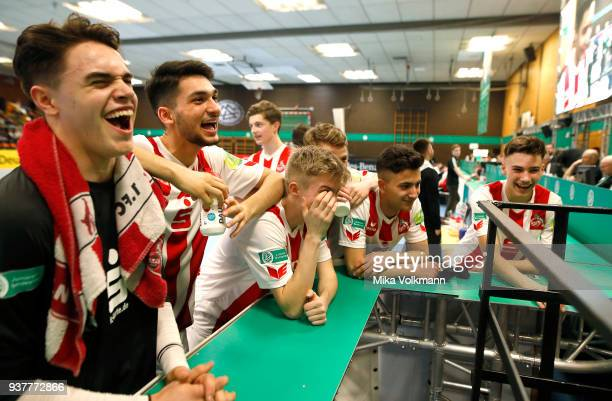Player of team 1FC Koeln laugh after the final of the DFB Indoor Football match BJunioren between 1FC Koeln and TuS Komet Arsten on March 25 2018 in...