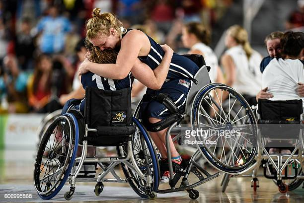 Player of team United States celebrate their victory in the Womens Wheelchair Basketball gold medal match between United States and Germany on day 9...