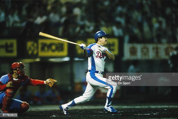 Player of the Chunichi Dragons batts against the Hiroshima Carp during a game circa 1990's.