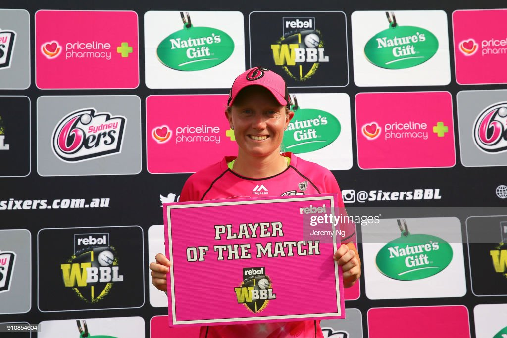 Player of the match Alyssa Healy of the Sixers poses for a photo after the Women's Big Bash League match between the Adelaide Strikers and the Sydney Sixers at Hurstville Oval on January 27, 2018 in Sydney, Australia.