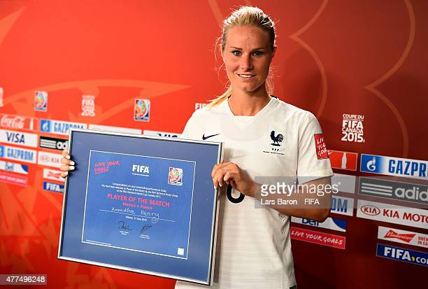 Player of the match Amandine Henry of France poses for a picture after winning the FIFA Women's World Cup 2015 Group F match between Mexico and...