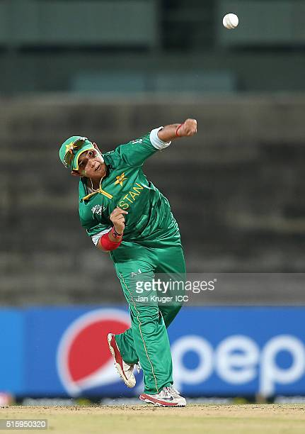 Player of the match Anam Amin of Pakistan bowls during the Women's ICC World Twenty20 India 2016 match between West Indies and Pakistan at MA...