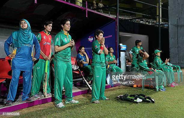 Player of the match Anam Amin of Pakistan looks on dejected during the Women's ICC World Twenty20 India 2016 match between West Indies and Pakistan...