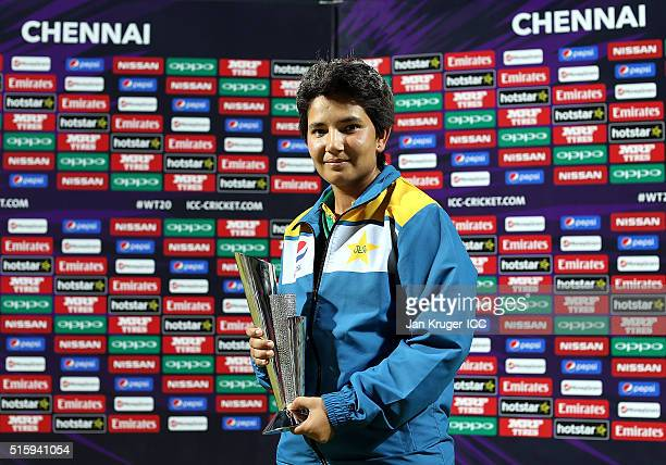 Player of the match Anam Amin of Pakistan poses during the Women's ICC World Twenty20 India 2016 match between West Indies and Pakistan at MA...