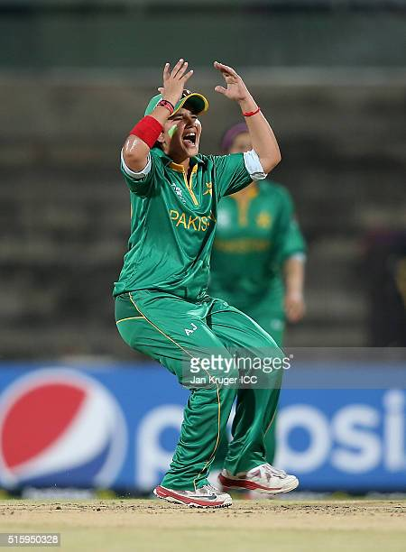 Player of the match Anam Amin of Pakistan reacts during the Women's ICC World Twenty20 India 2016 match between West Indies and Pakistan at MA...