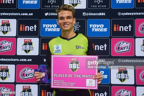 Player of the match Chris Green of the Thunder poses for a photo during the Big Bash League match between the Sydney Sixers and the Sydney Thunder at...