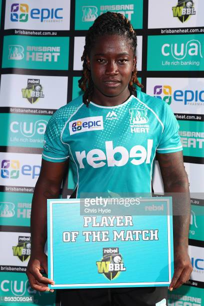 Player of the match Deandra Dottin of the Heat during the Women's Big Bash League match between the Brisbane Heat and the Perth Scorchers at Allan...